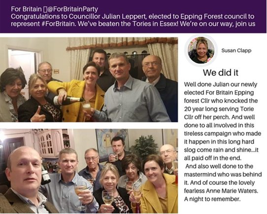 Pictured: new Epping Forrest Councillor Julian Leppert: Grey shirt holding celebratory glass as Anne Marie Waters (Yellow jacket) raises a toast to the winning team