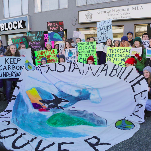 Sustainabiliteens at a downtown Climate strike in late 2018. Photo courtesy of Sustainabiliteens.