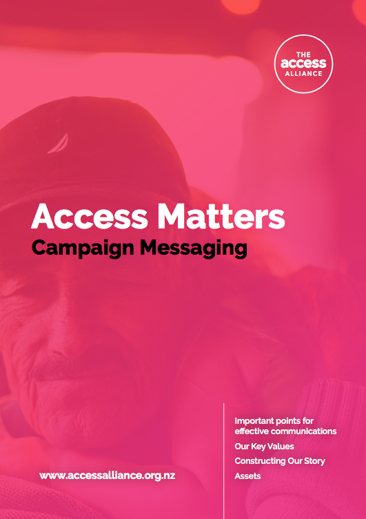 Cover of Access Matters Messaging Document is pink with title in white