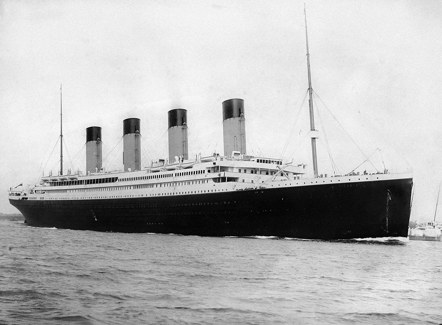 RMS Titanic departing Southampton on April 10, 1912. F.G.O. Stuart (1843-1923)