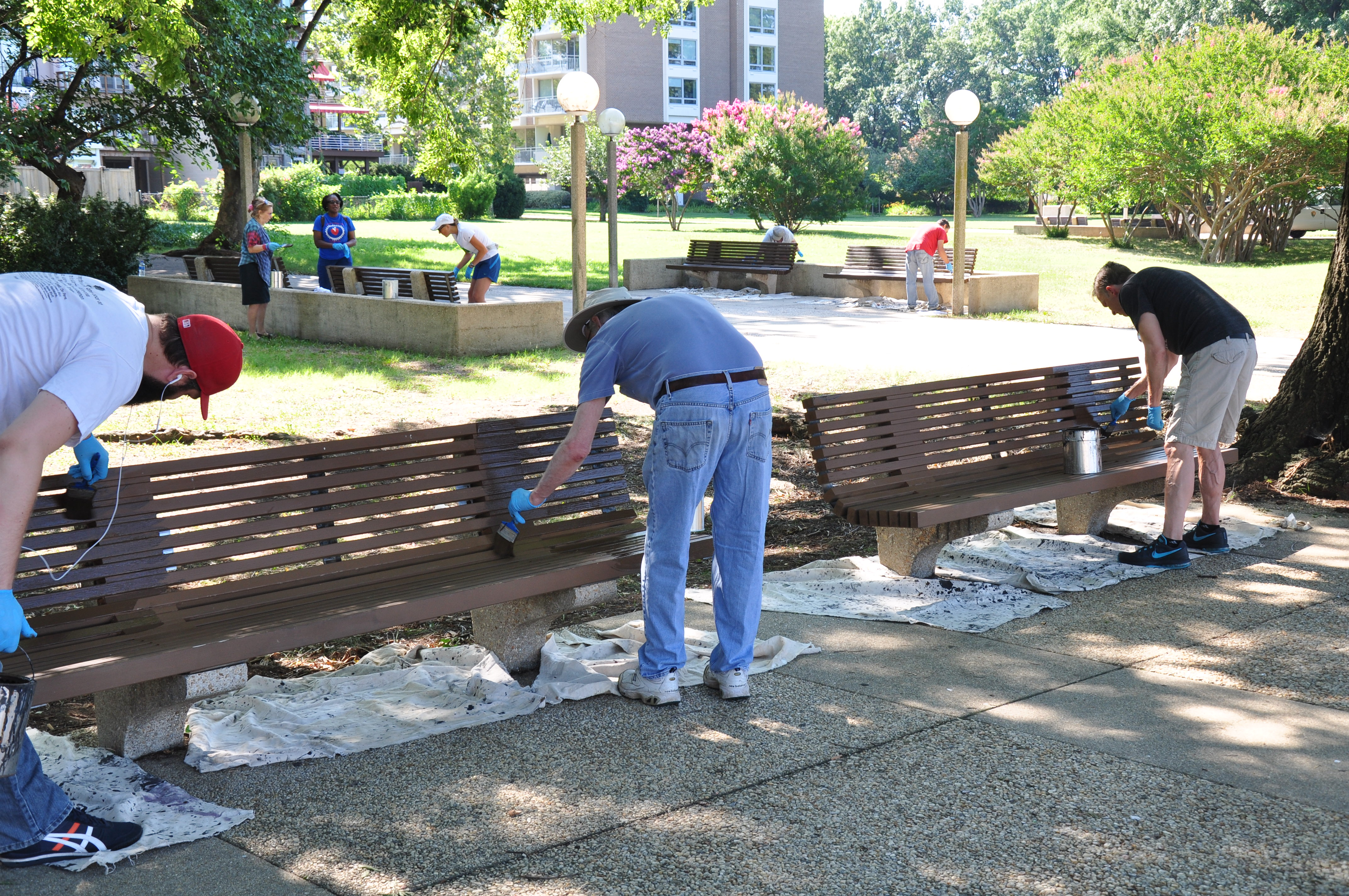 NPS Staff replacing benches, 2017