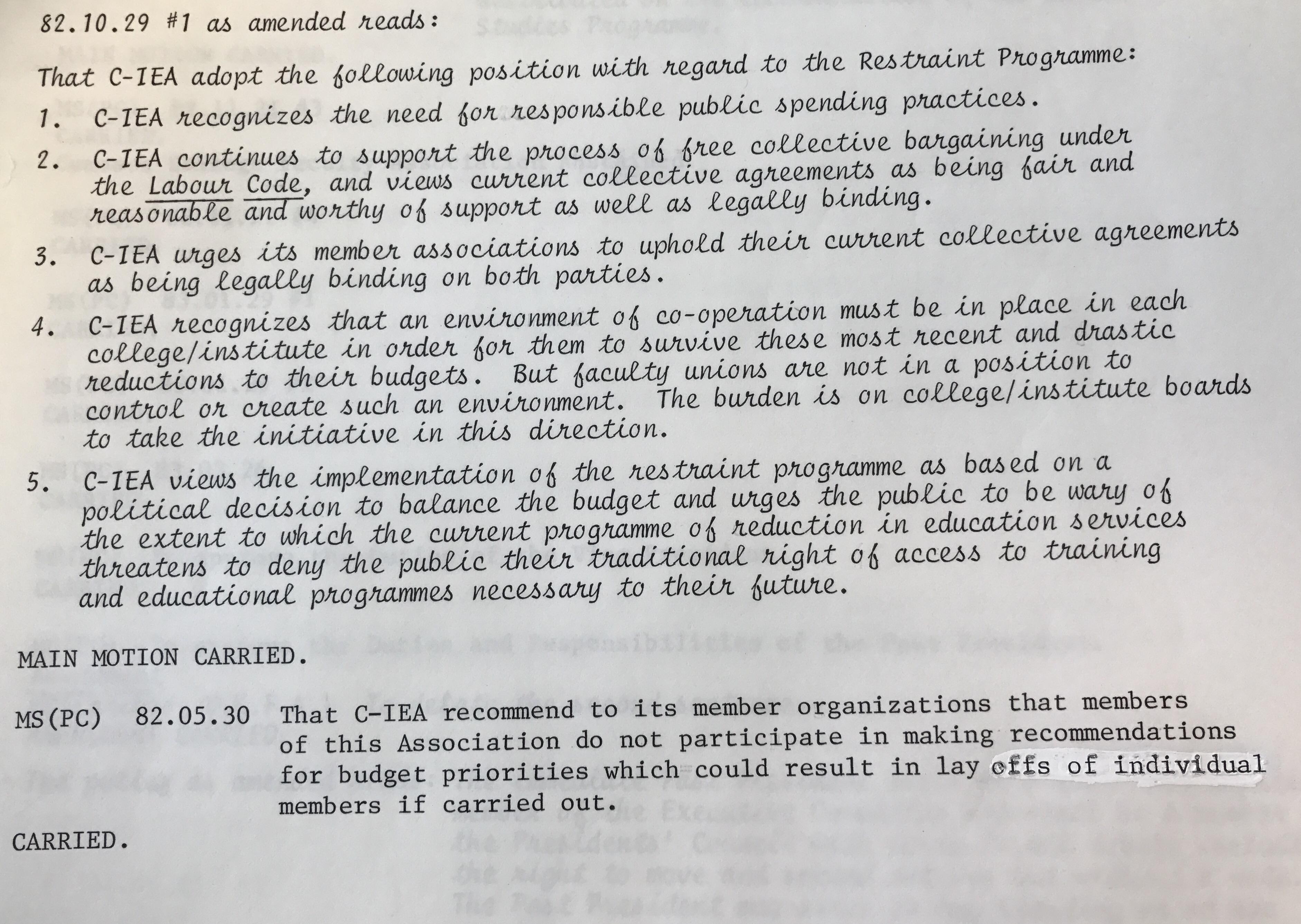 1983 AGM Resolution on restraint program