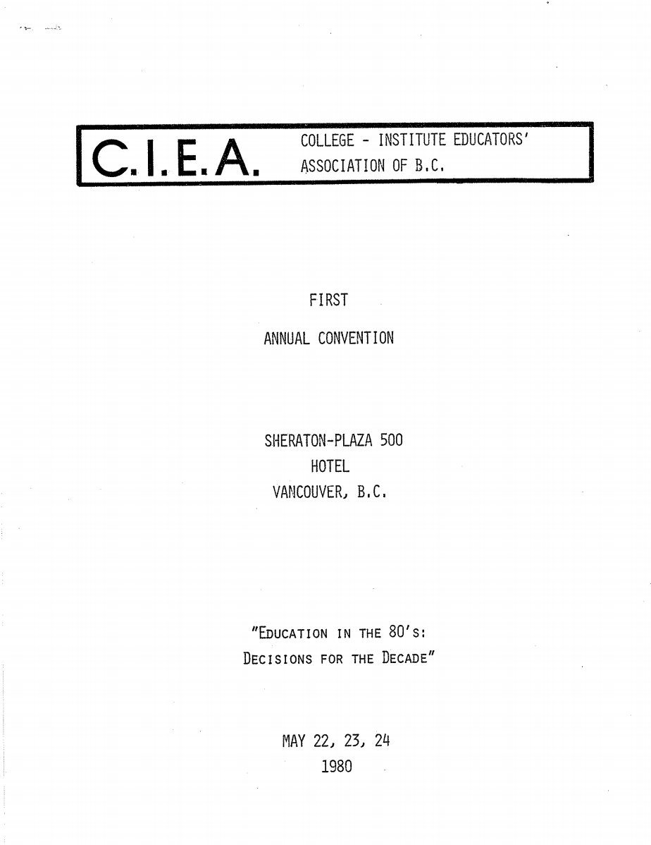 CIEA First Annual Convention Cover Page