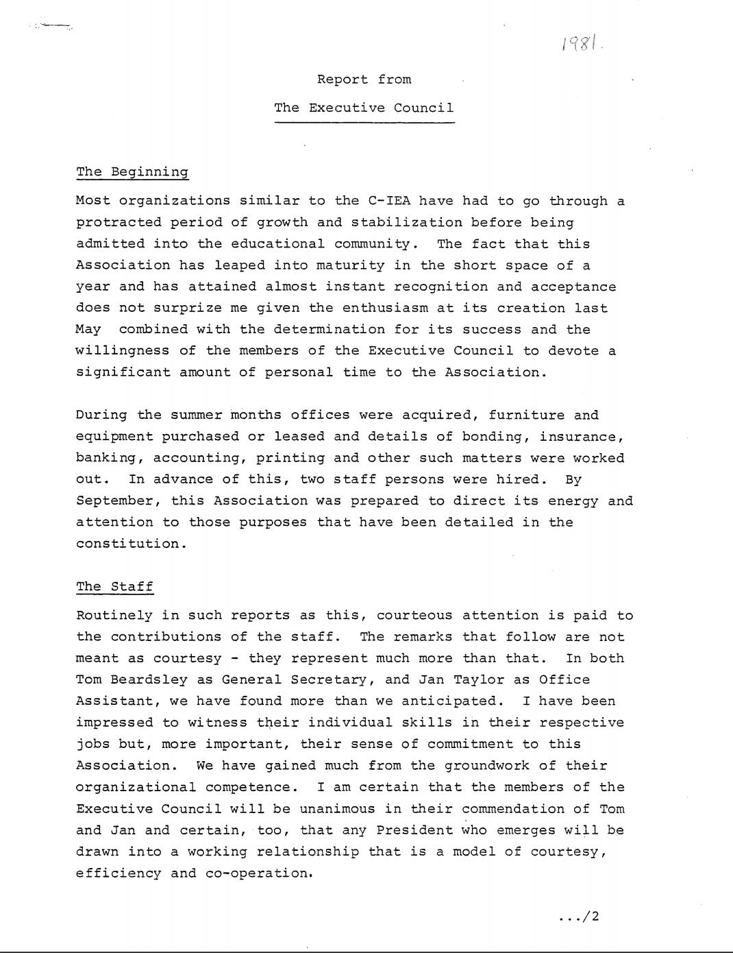 CIEA AGM 1981 President's Report