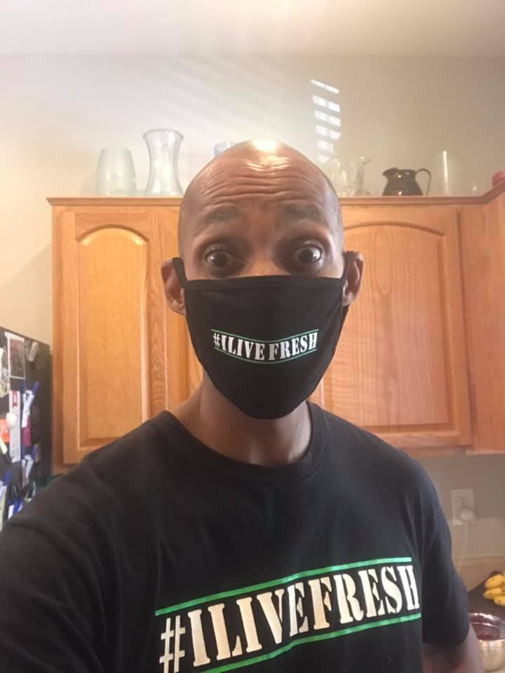 Motivational Speaker Frank Kitchen Wearing I Live FRESH Covid19 Mask
