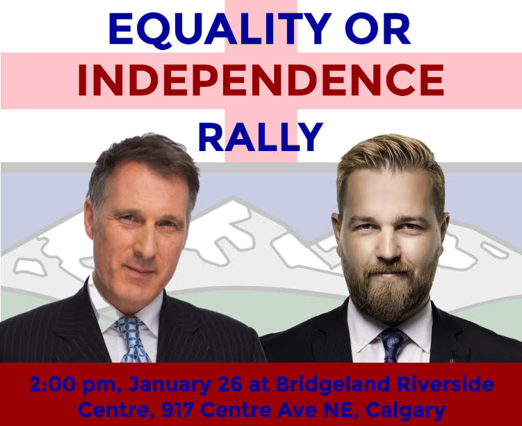 RELEASE: Maxime Bernier & Fildebrandt to Join Equality or Independence Rally in Calgary