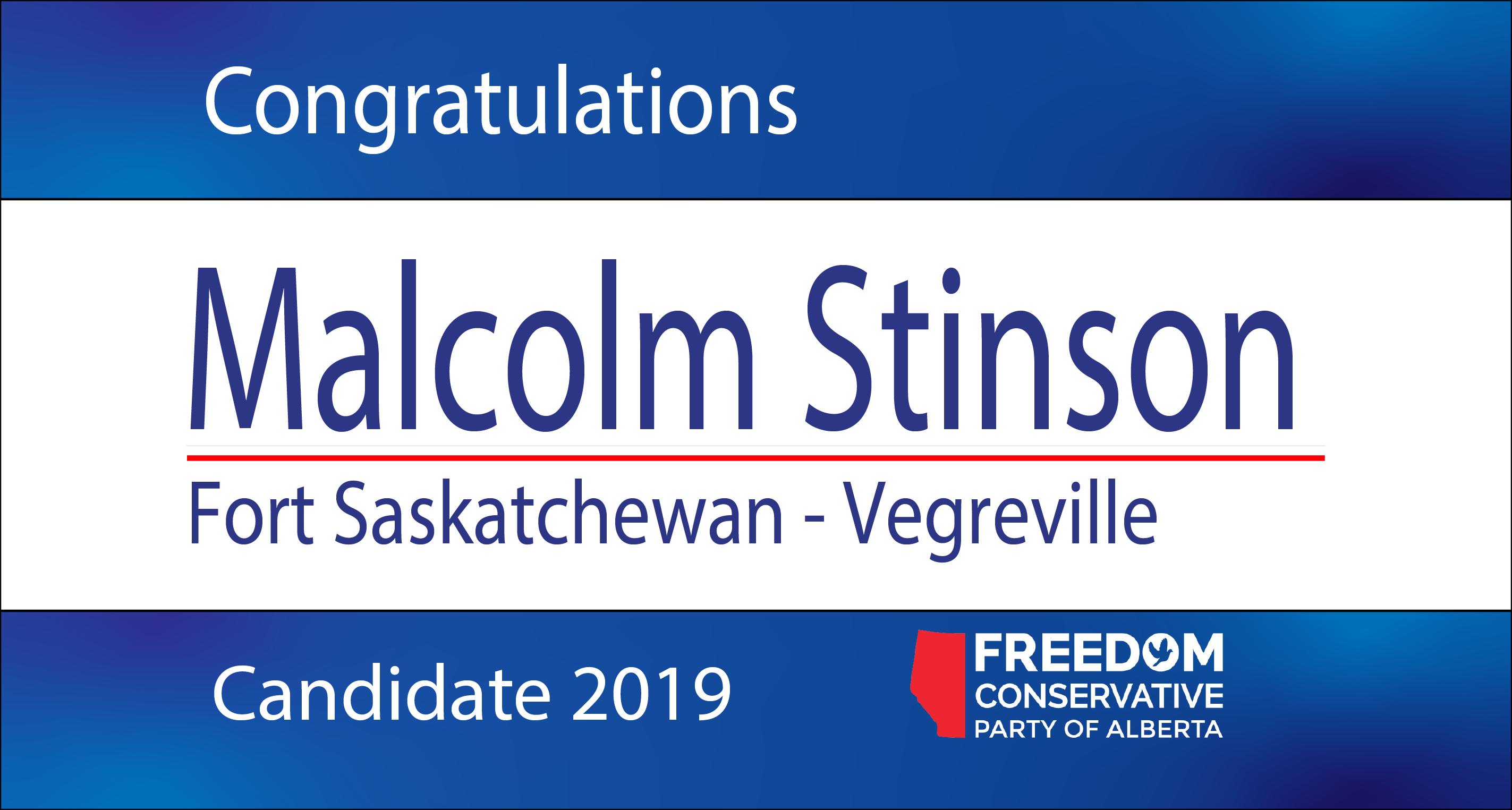 RELEASE: Malcolm Stinson Nominated as FCP Candidate for Fort Saskatchewan-Vegreville