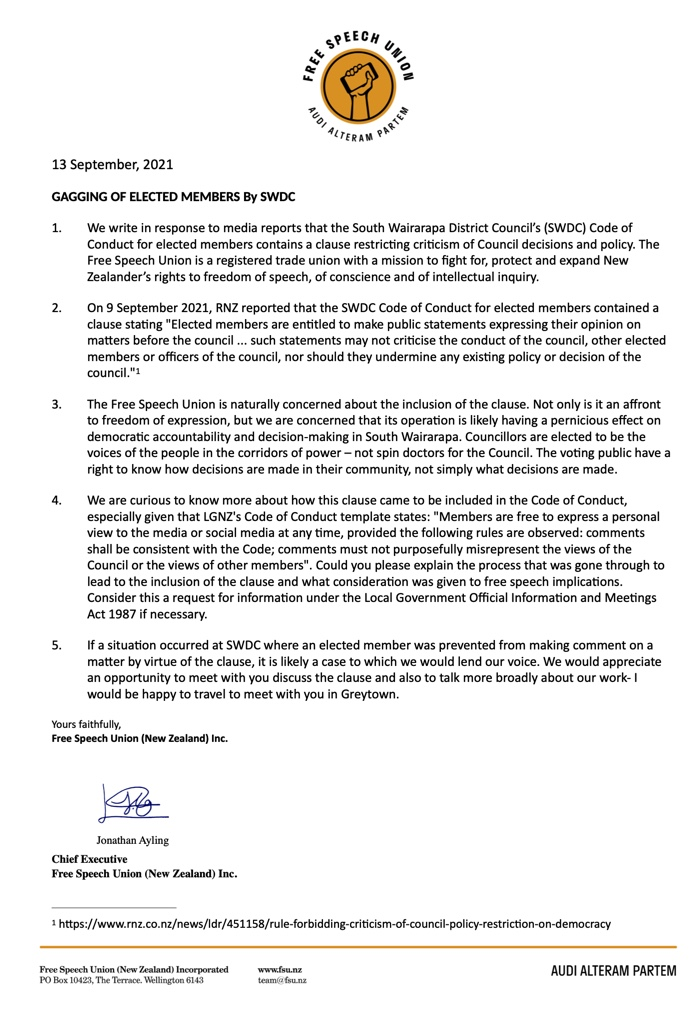 Letter to SWDC
