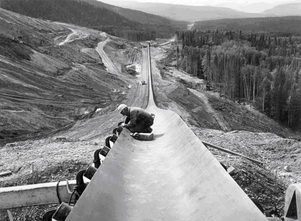 Workers construct the W.A.C Bennett dam in the 1960s.
