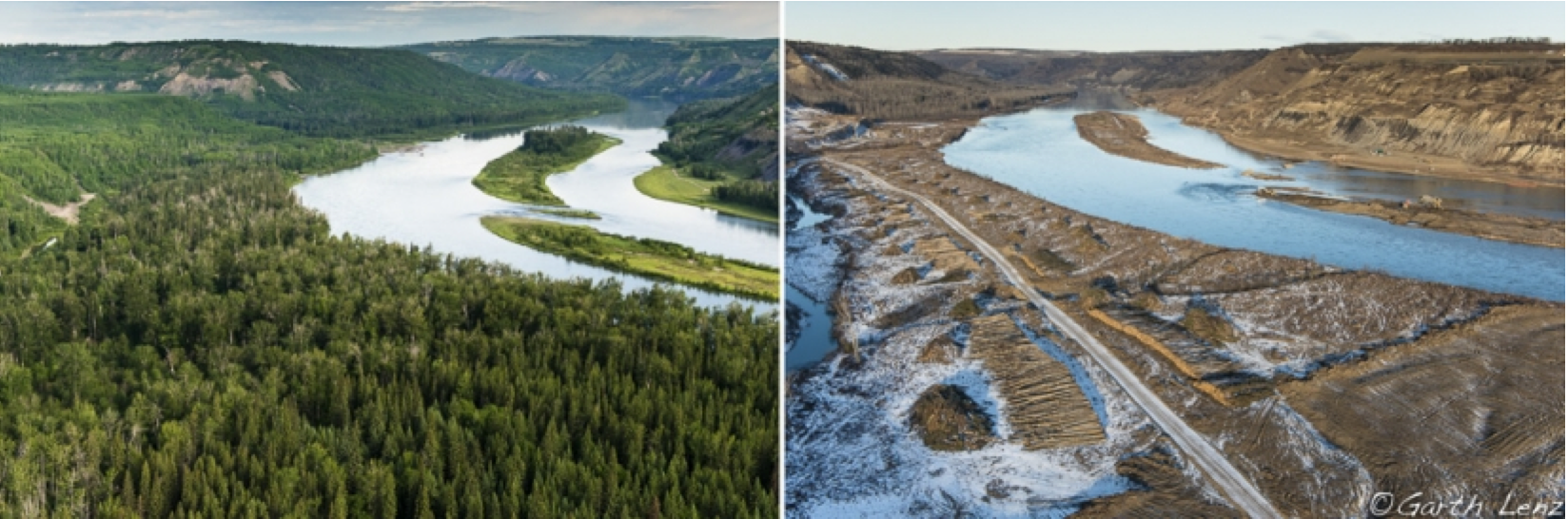 The Peace River Valley before and after clearing forest for Site C.