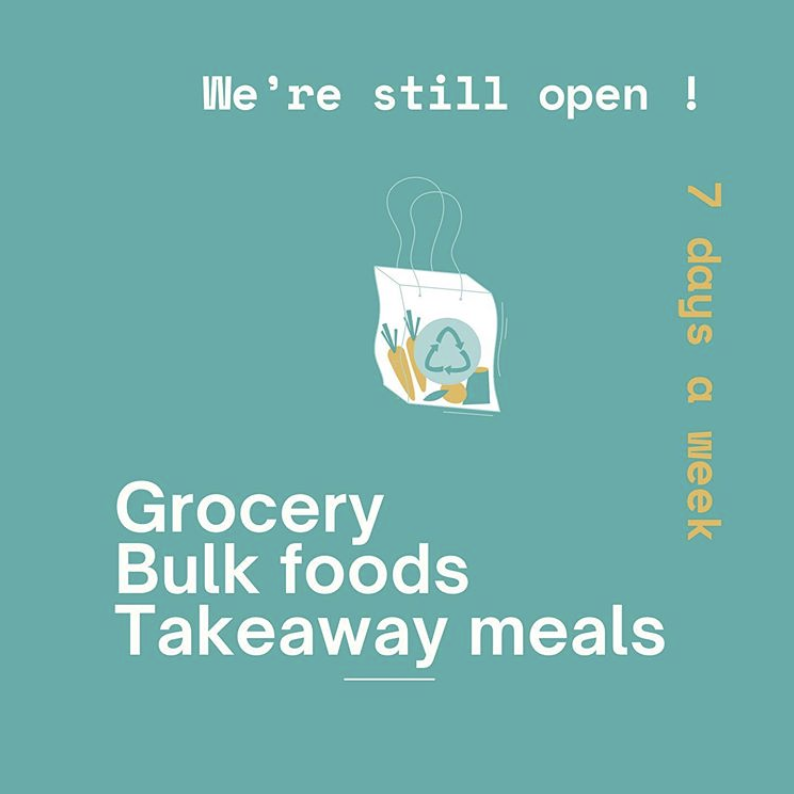 Text: Food Coop is Open for bulk food and groceries 7 days a week