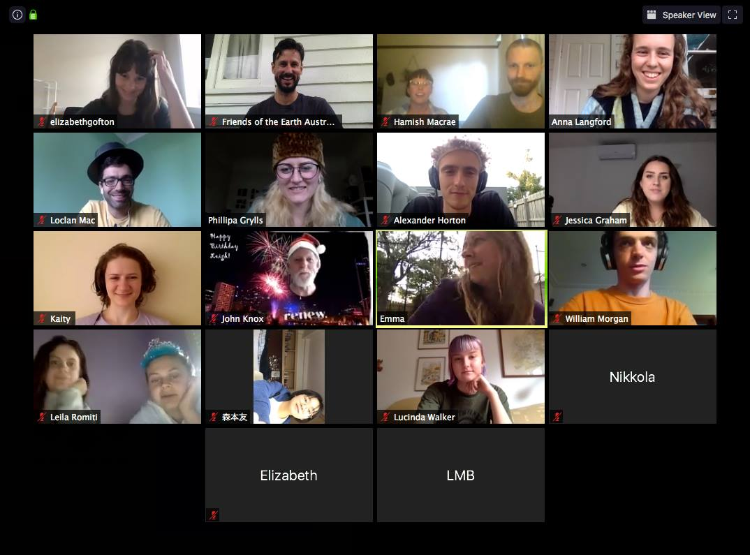 The Act on Climate collective on a zoom call (some of them in funny hats as a birthday surprise for Leigh)