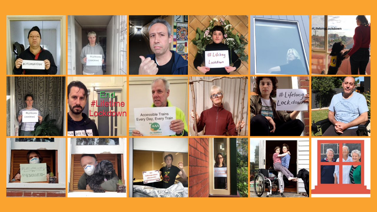 Image shows dozens of people taking selfies with the hashtag #LifelongLockdown