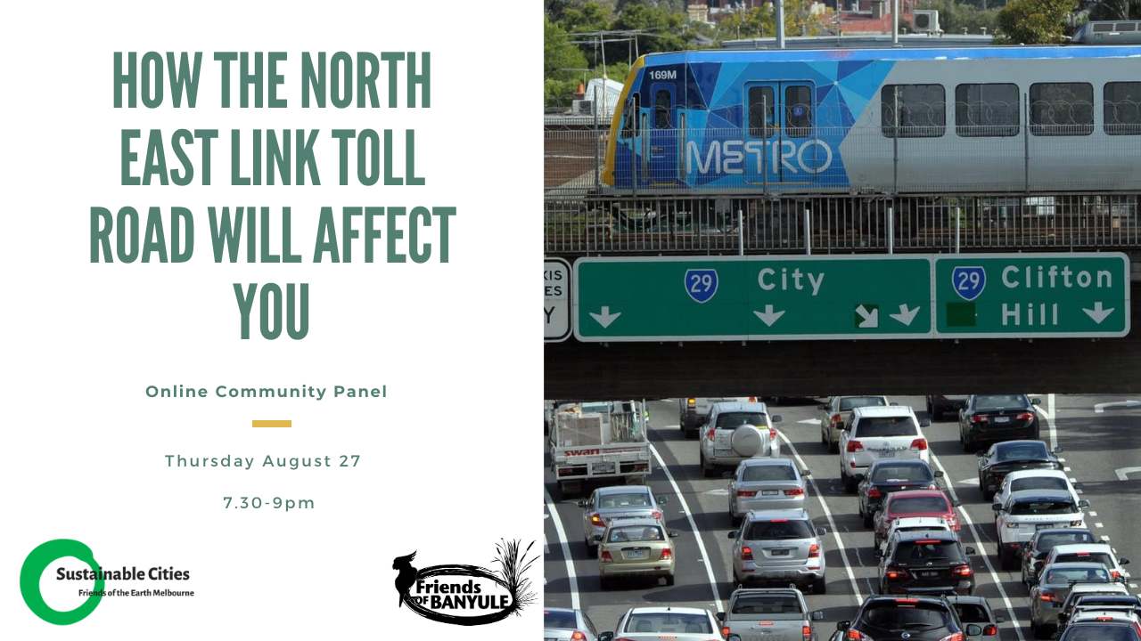 Poster for event, with image of freeway at standstill.