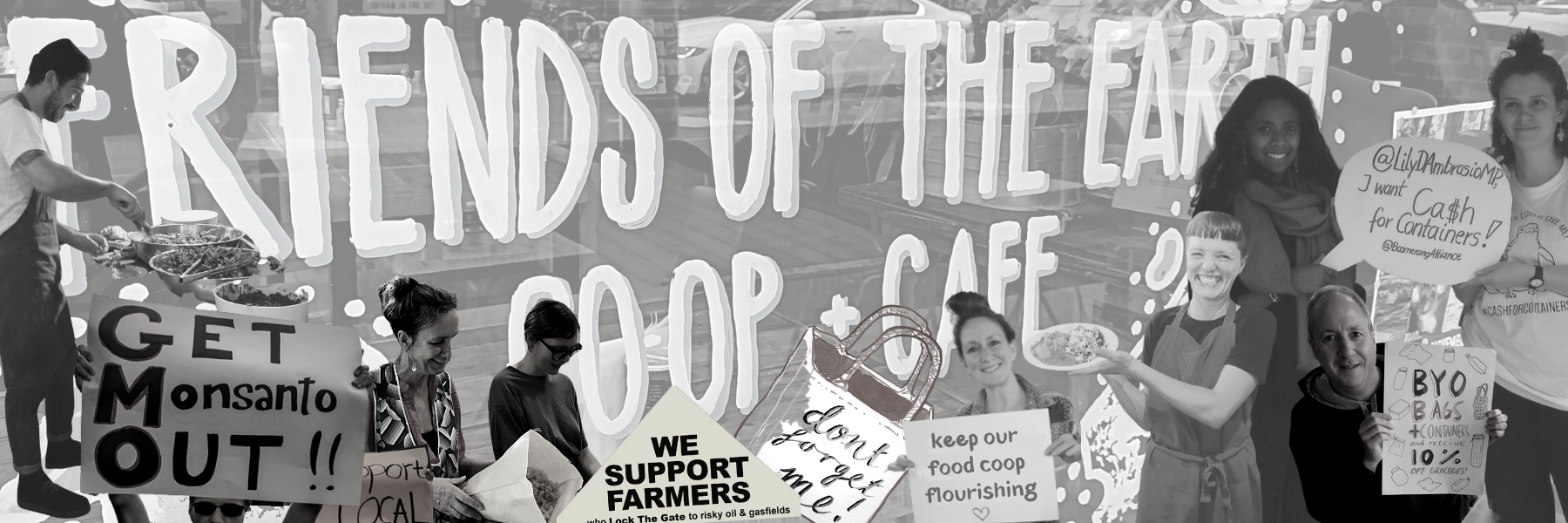 Click here for the Friends of the Earth Food Co-op and Cafe website, where you can find out more about our range of bulk foods, groceries and fruit and veg, click and collect service and in-store menu options.