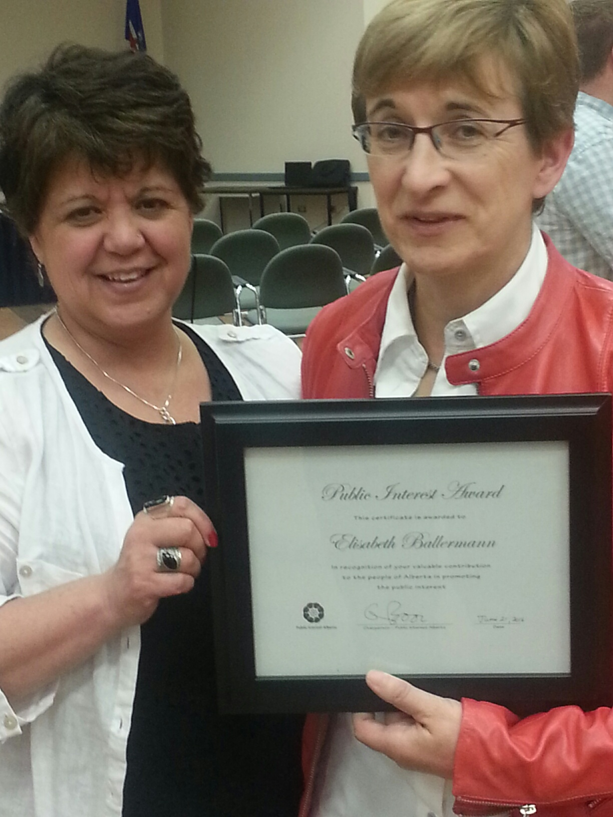 With Sandra Azocar after being given the 2016 Public Service Award by Public Interest Alberta