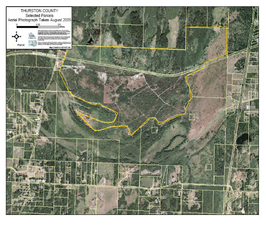 Aerial view of location of proposed Rocky Prairie Industrial Center