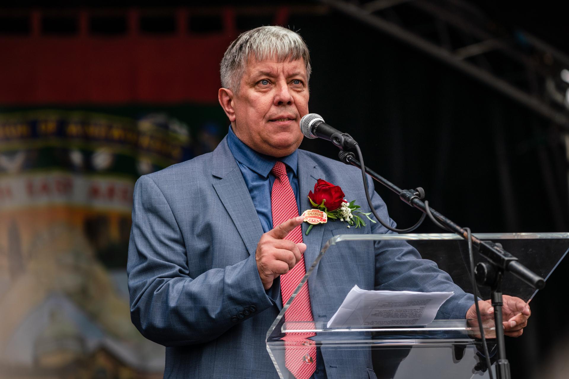 DMA Secretary Alan Mardghum speaking at the 2019 Durham Miners Gala