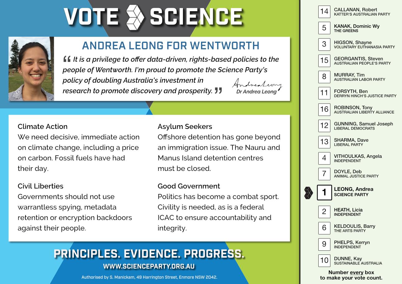 The Science Party recommends voting 1 Leong, 2 Heath, 3 Higson, 4 Vithoulkas, 5 Kanak, 6 Keldoulis, 7 Doyle, 8 Murray, 9 Phelps, 10 Dunne, 11 Forsyth, 12 Dunning, 13 Sharma, 14 Callanan, 15 Georgantis, 16 Robinson.