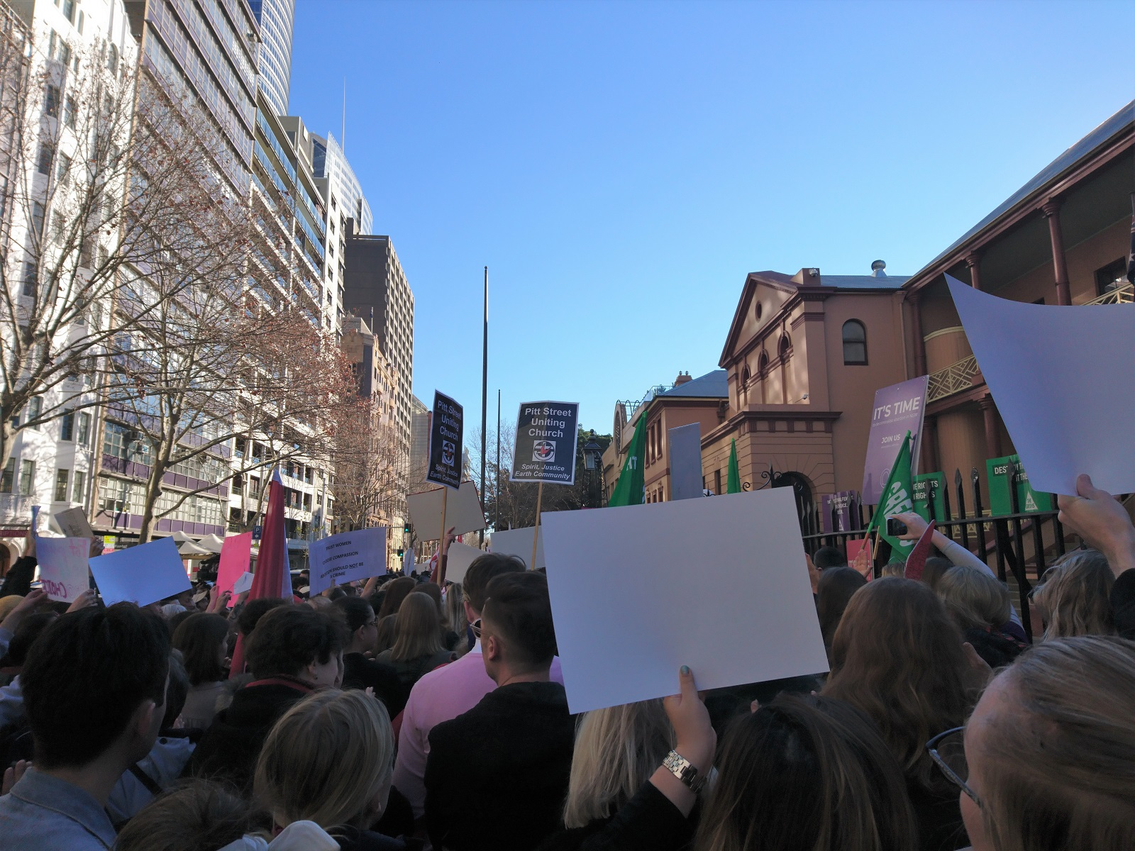 View from my extremely poor vantage point outside NSW Parliament House, at a rally to support decriminalising abortion on 6th August 2019