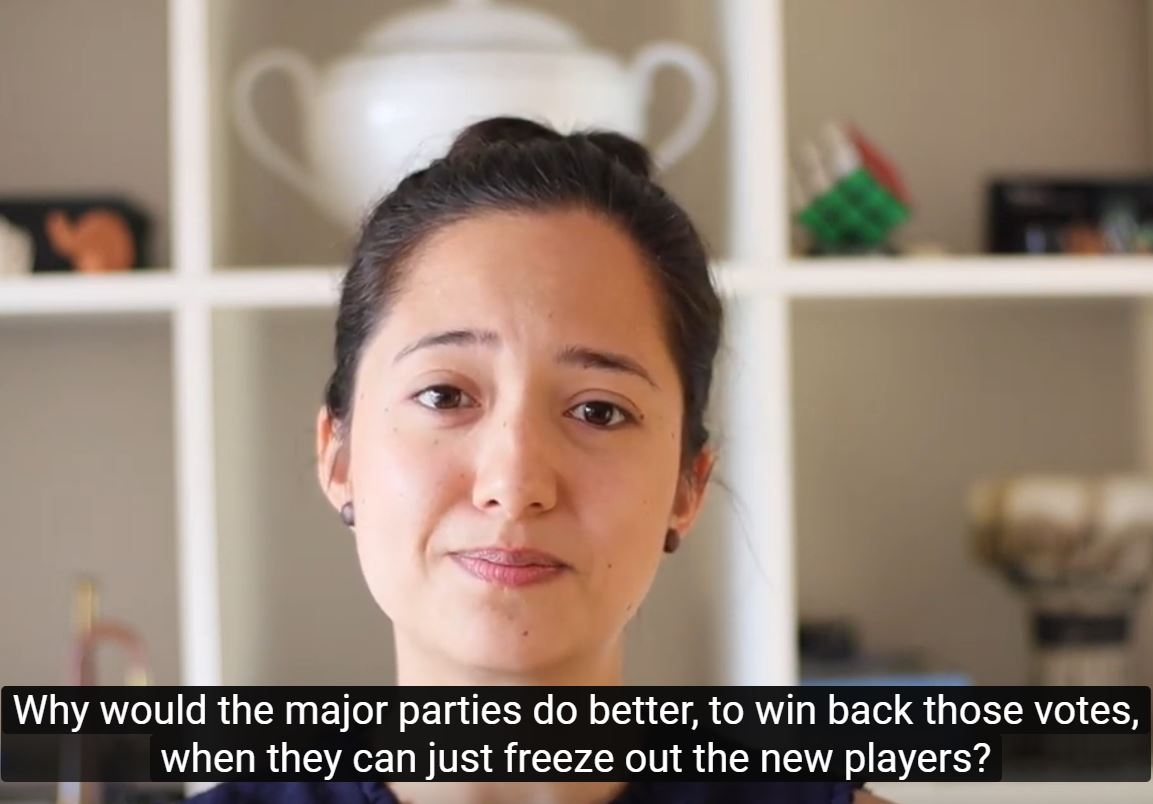 screengrab from YouTube video: Why would the major parties do better to win back htose votes when they can just freeze out the new players?