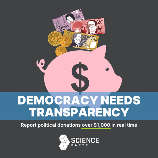 text: Democracy needs transparency. Report political donations over $1,000 in real time. Image: money going into a piggy bank.