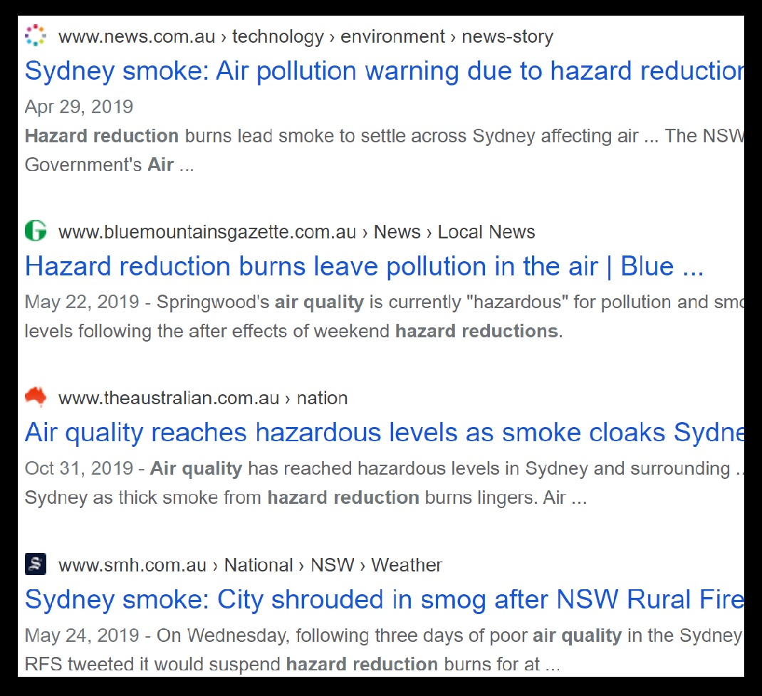 "Screenshot of Google results for the search: ""air quality hazard reduction"". Shown are four results from different news outlets from April to October 2019 reporting poor air quality over the Sydney and Blue Mountains region due to hazard reduction burns."