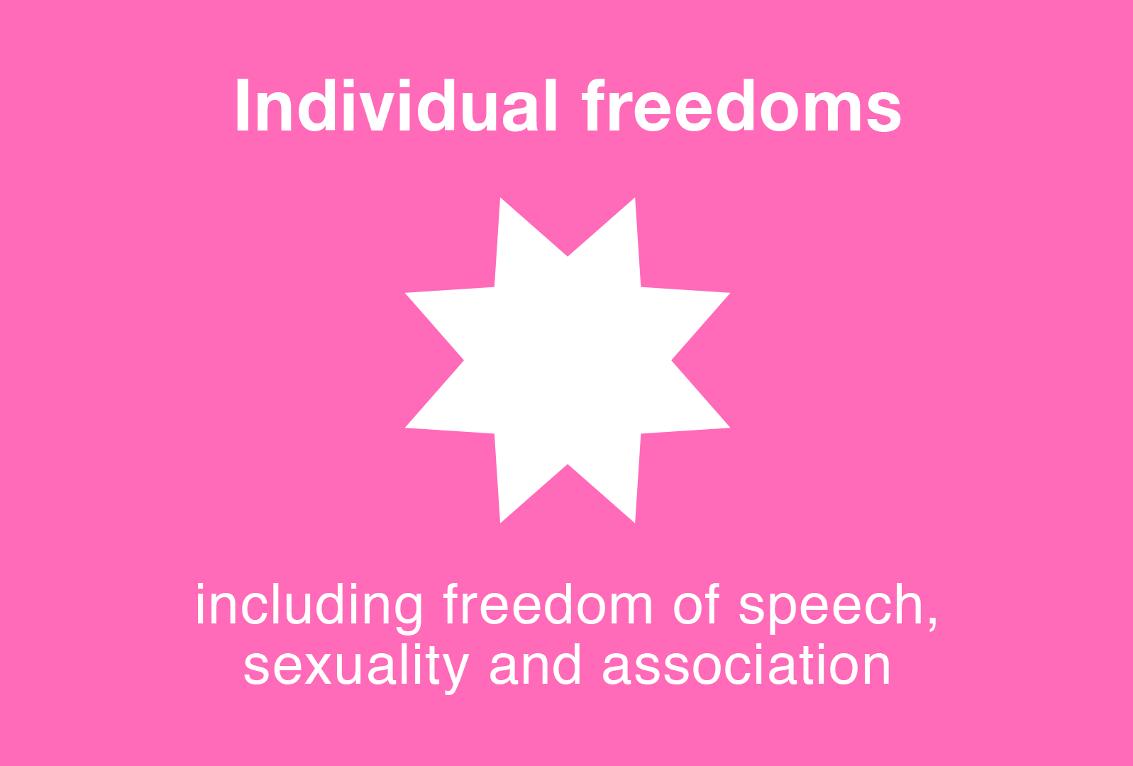 Individual freedoms including freedom of speech, sexuality and association
