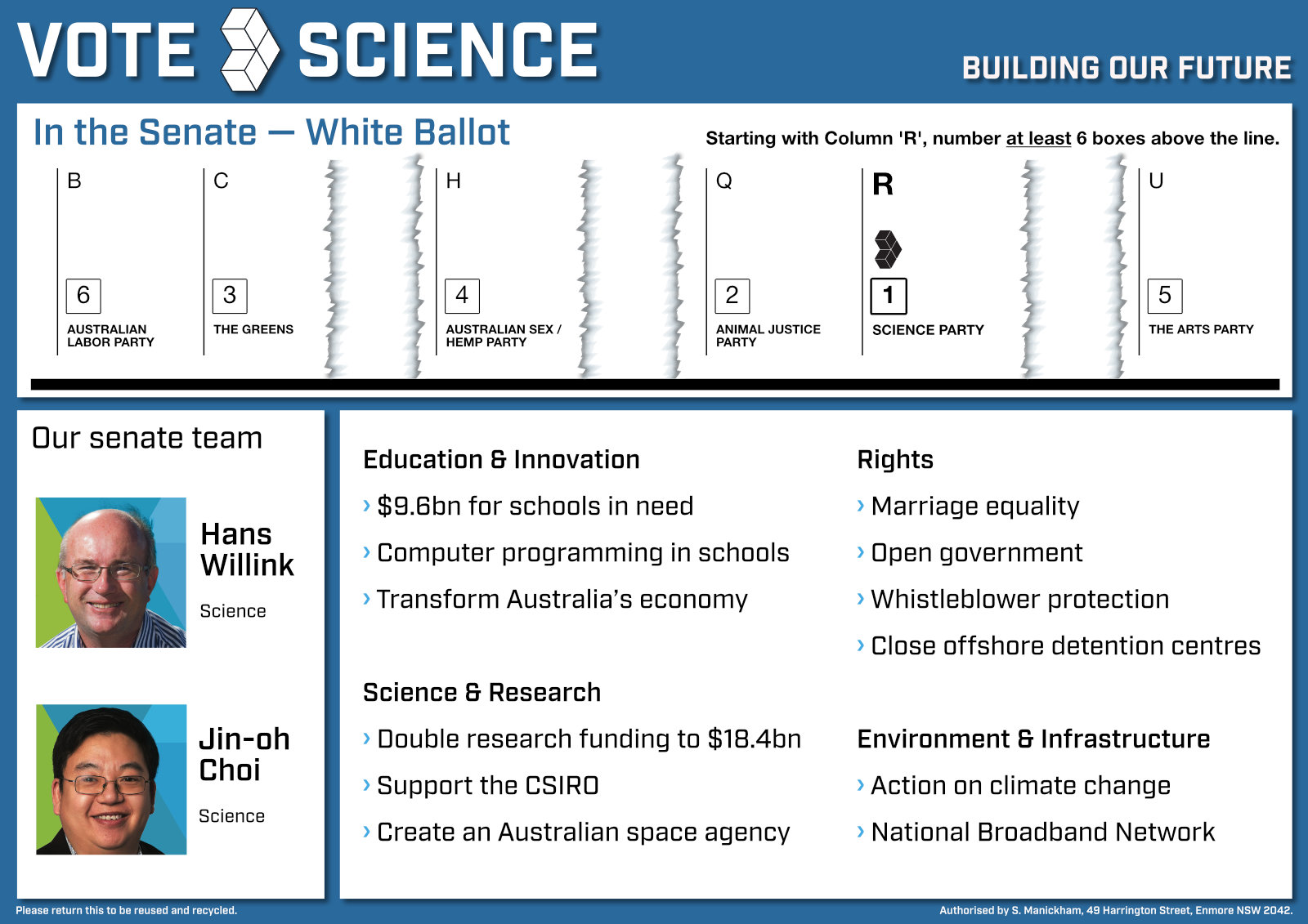 how to vote Science in Tasmania