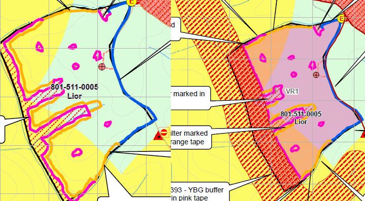 VicForests maps showing the glider protection area over existing buffers