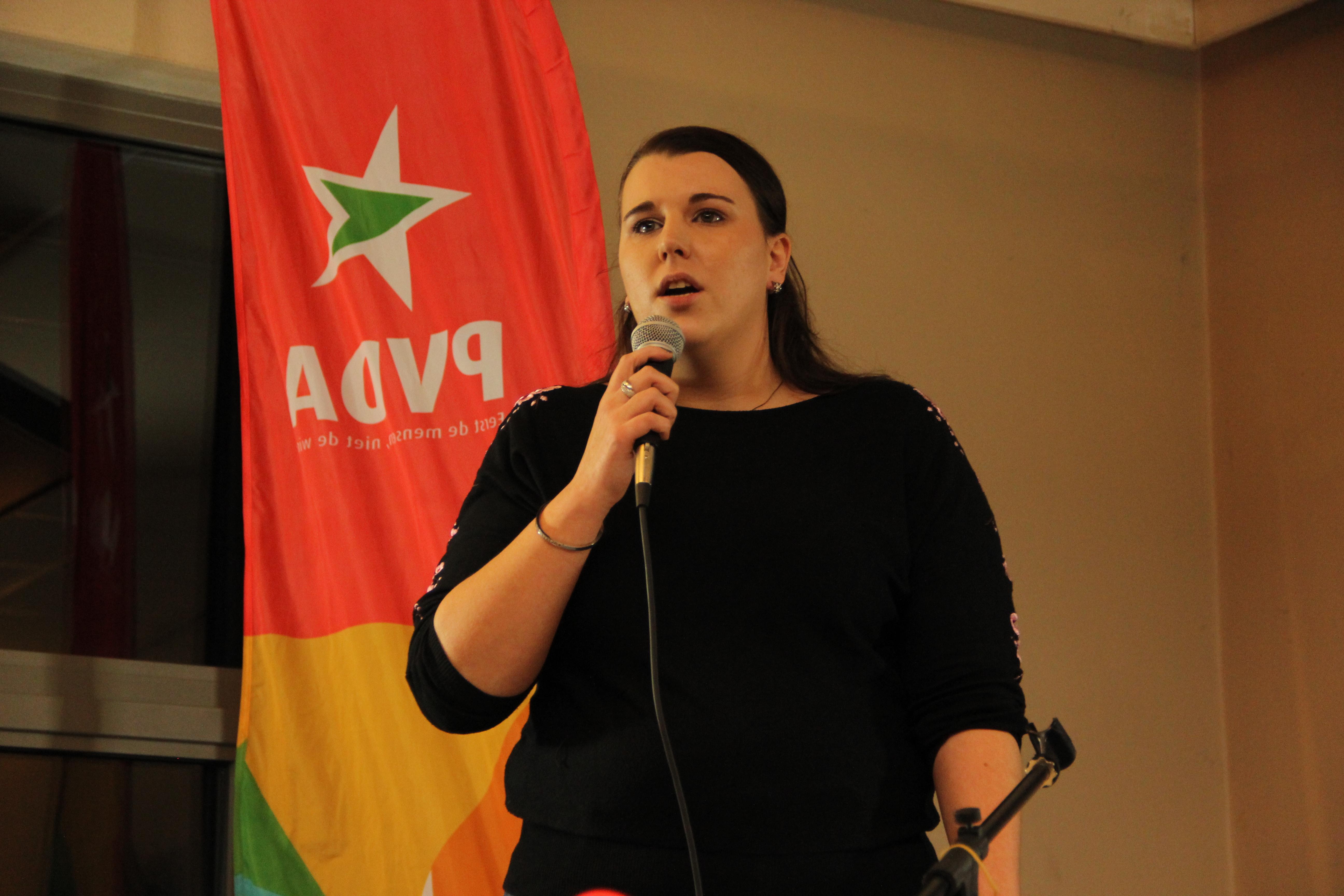 Anniek Bollen aan het woord op de nieuwjaarsreceptie van PVDA Hasselt