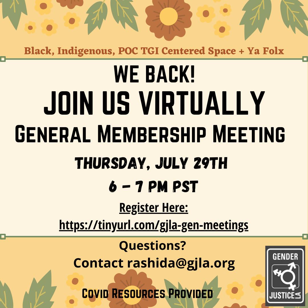 GJLA Membership Meeting Flyer
