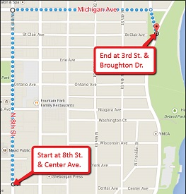 Sheboygan Brat Days parade route map.