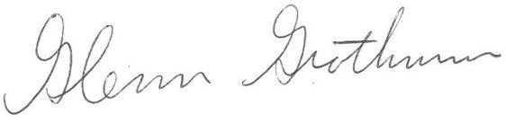 Signed, Glenn Grothman