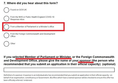 Screenshot of application for approval showing applicants are asked whether they have a 'sponsor' who is a 'Member of Parliament or Minister' and to name them.