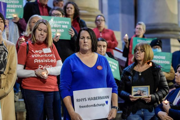 Liz Habermann at Adelaide's Voluntary Assisted Dying vigil
