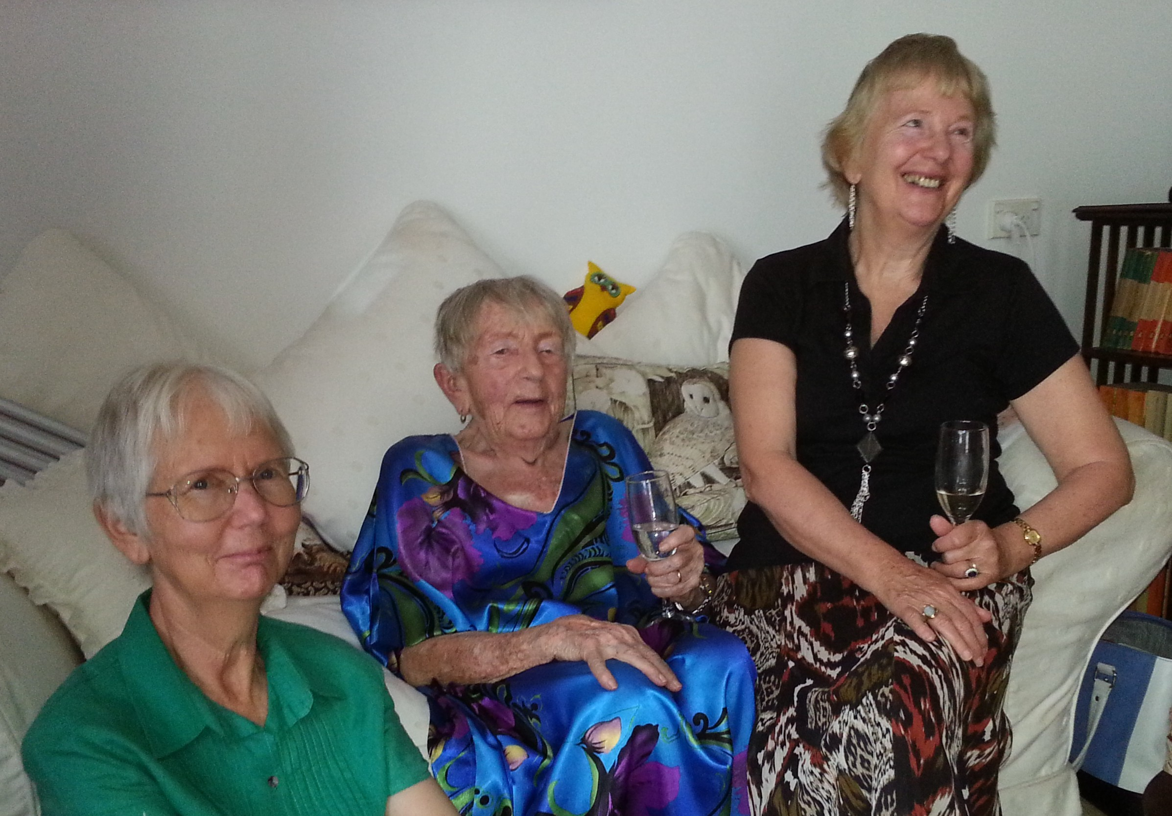 Ursula, with her duaghters at her 95th birthday celebrations