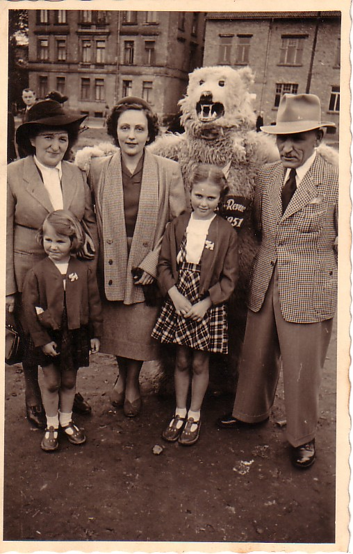 Ursula at age 31 with her daughters in Germany. Her background made her storng and indepedent.
