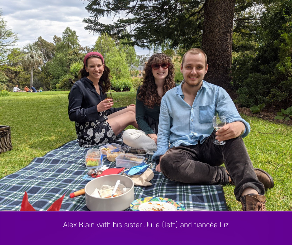Alex Blain with sister Julie (left) and fiancee Liz
