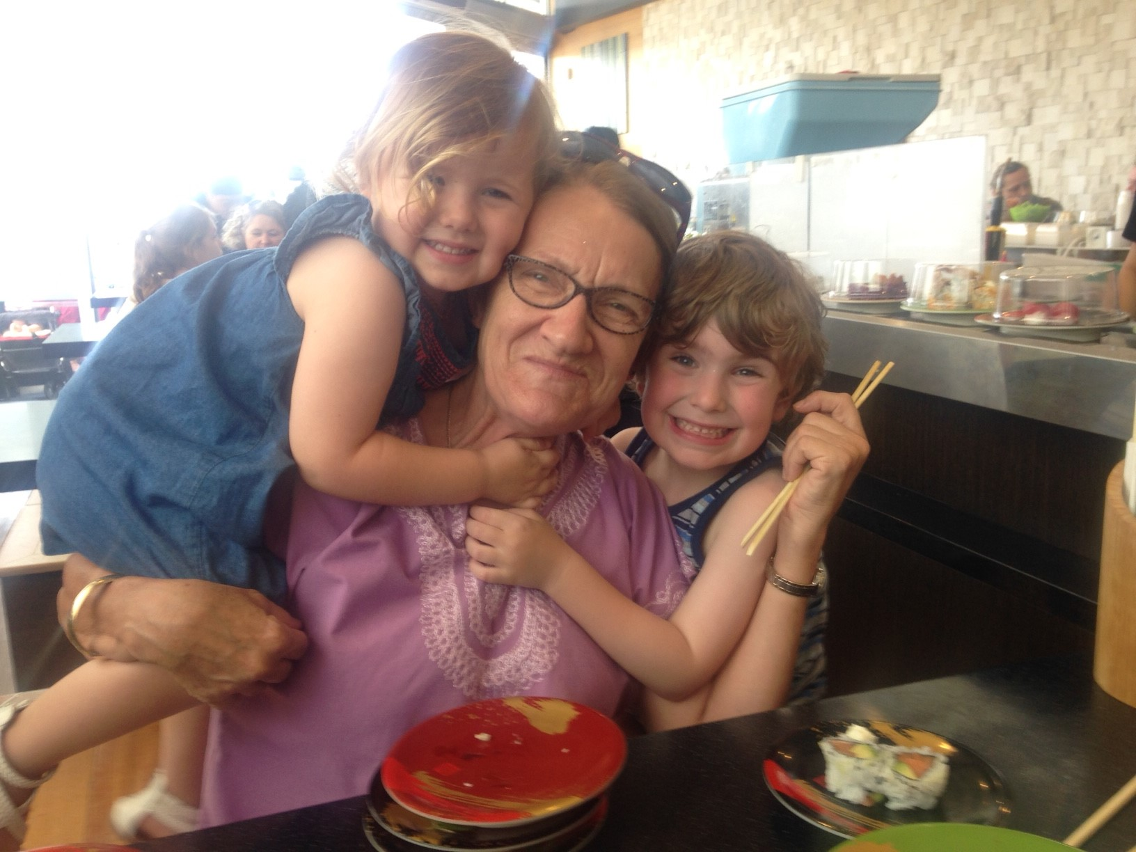 Gayl Gray with her grandkids
