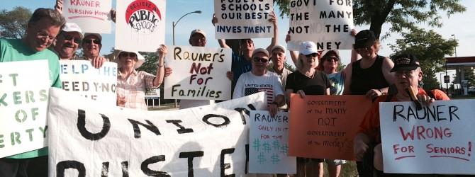 Protestors say Rauner puts money above people