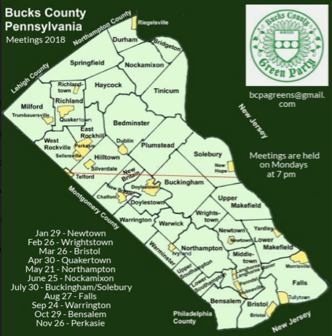 Bucks County - meeting locations 2018