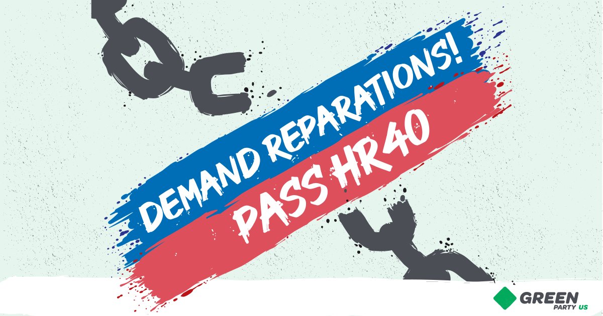 """Chain being broken by a blast of color with message """"Reparations Now! Pass HR40"""""""