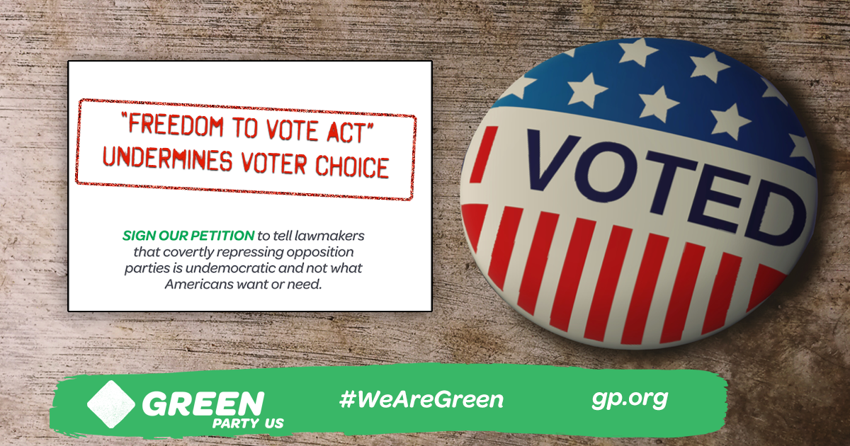 """""""I voted"""" button with warning """"""""Freedom To Vote Act"""" Undermines Voter Choice"""""""