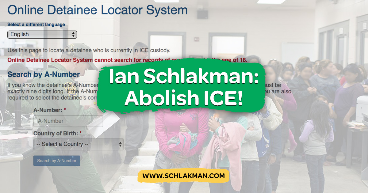 Ian Schlakman Calls for Abolition of Immigration and Customs