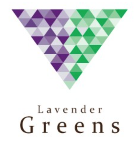 triangle pointed down with small triangles within of shades of lavender color on the left half and shades of green on the right half