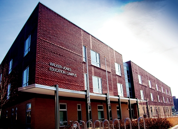 The front of the Walker-Jones Education Campus