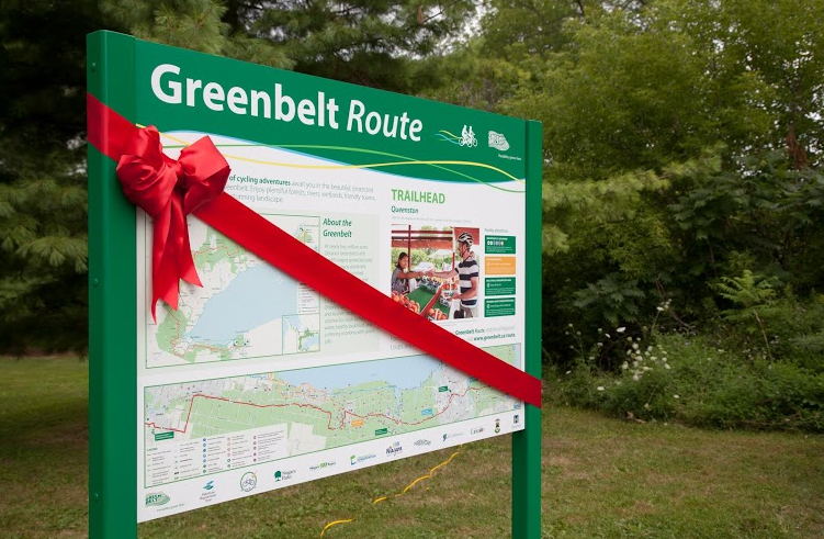 The sign in Queenston was one of five signs One of five trailhead signs posted along the new Greenbelt Route.