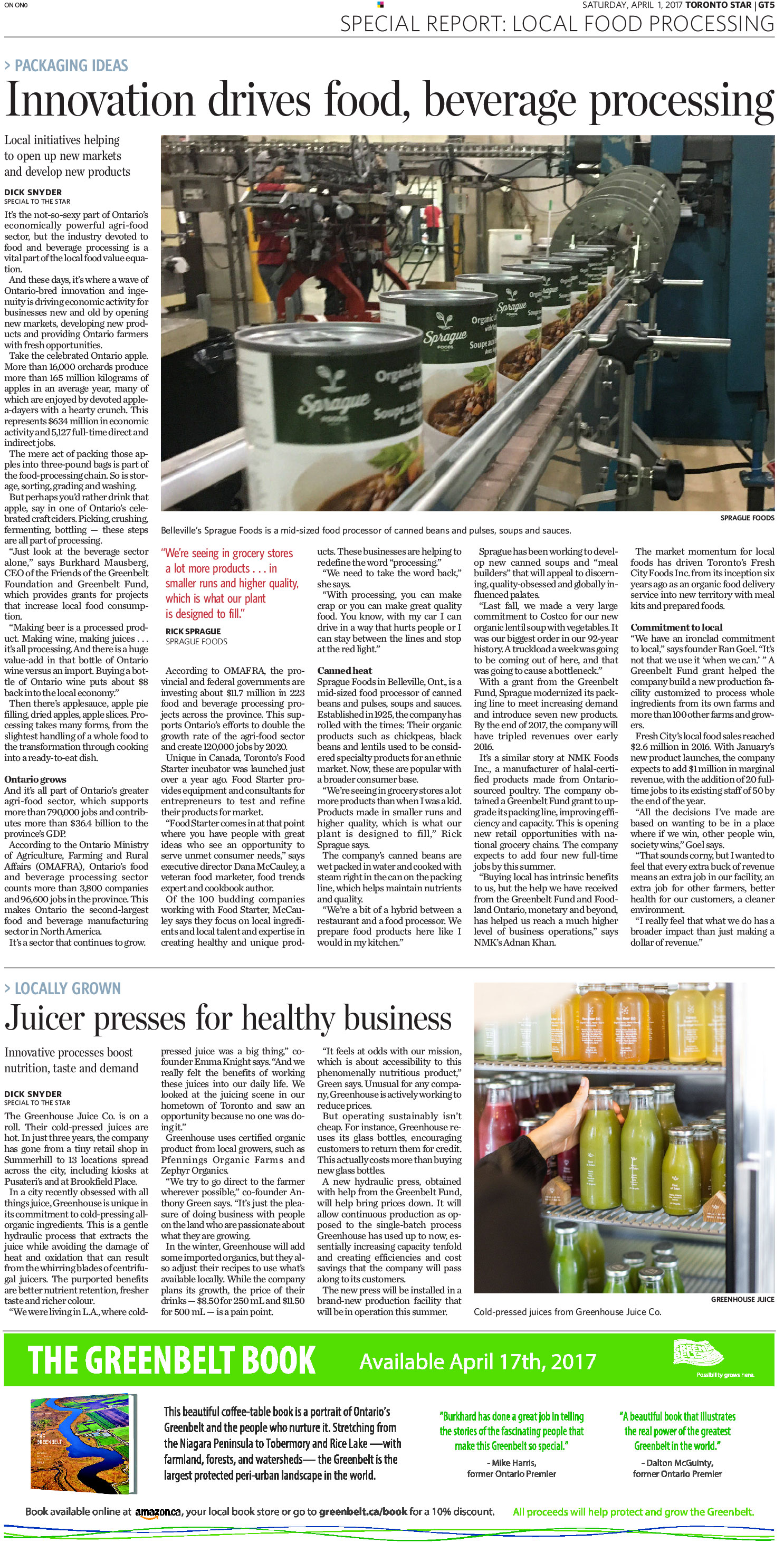 Toronto Star Features Local Food Processing