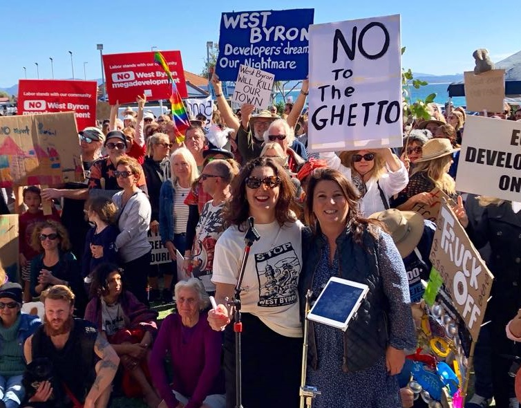 Tamara Smith Member for Ballina at the Main Beach rally against the West Byron mega developments